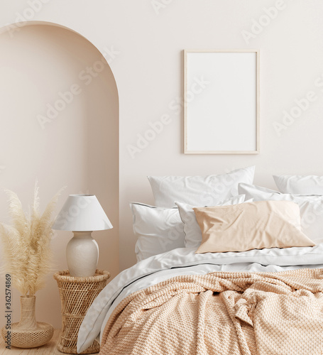 Mock up frame in home interior background, beige room with natural wooden furniture, Scandinavian style, 3d render - fototapety na wymiar