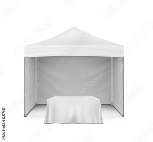 Pop-up gazebo and table covered with blank tablecloth, realistic mock-up Wallpaper Mural