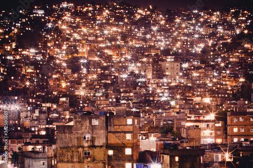 Canvas Print View Of Rocinha Favela At Night, Rio De Janeiro, Brazil