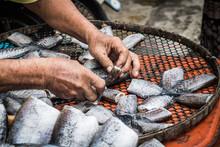 Thai Dried Salted Fish. Pla Salid Or Sepat Siam