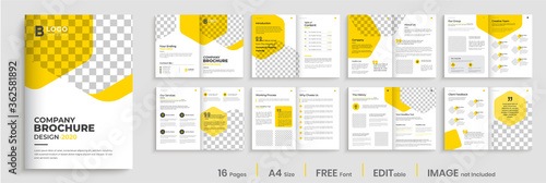 Fototapeta Corporate brochure design with yellow shapes, minimal professional company profile, annual report, multi-pages brochure template layout obraz