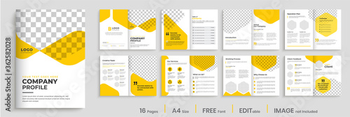 Obraz Corporate brochure design with yellow shapes, minimal professional company profile, annual report, multi-pages brochure template layout - fototapety do salonu
