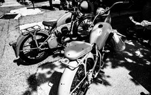 Grayscale Shot Of Retro Motorb...