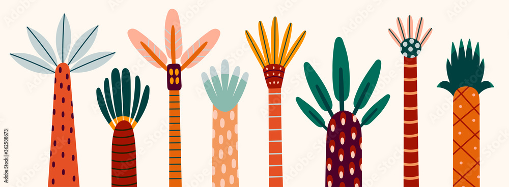 Fototapeta Various abstract Palms. Short and tall trees. Different interpretations of wood and leaves. Hand drawn colorful Vector set. Trendy illustration. Cartoon style, Flat design. Every tree is isolated