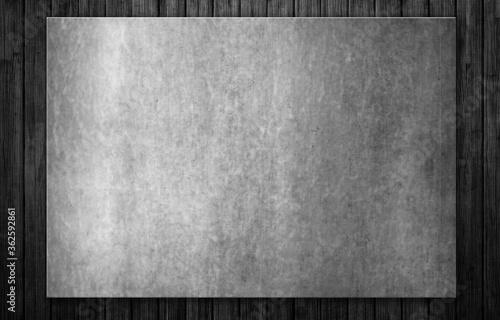 Fototapeta Old steel signboard on black wooden plank background texture. 3d illustration obraz na płótnie