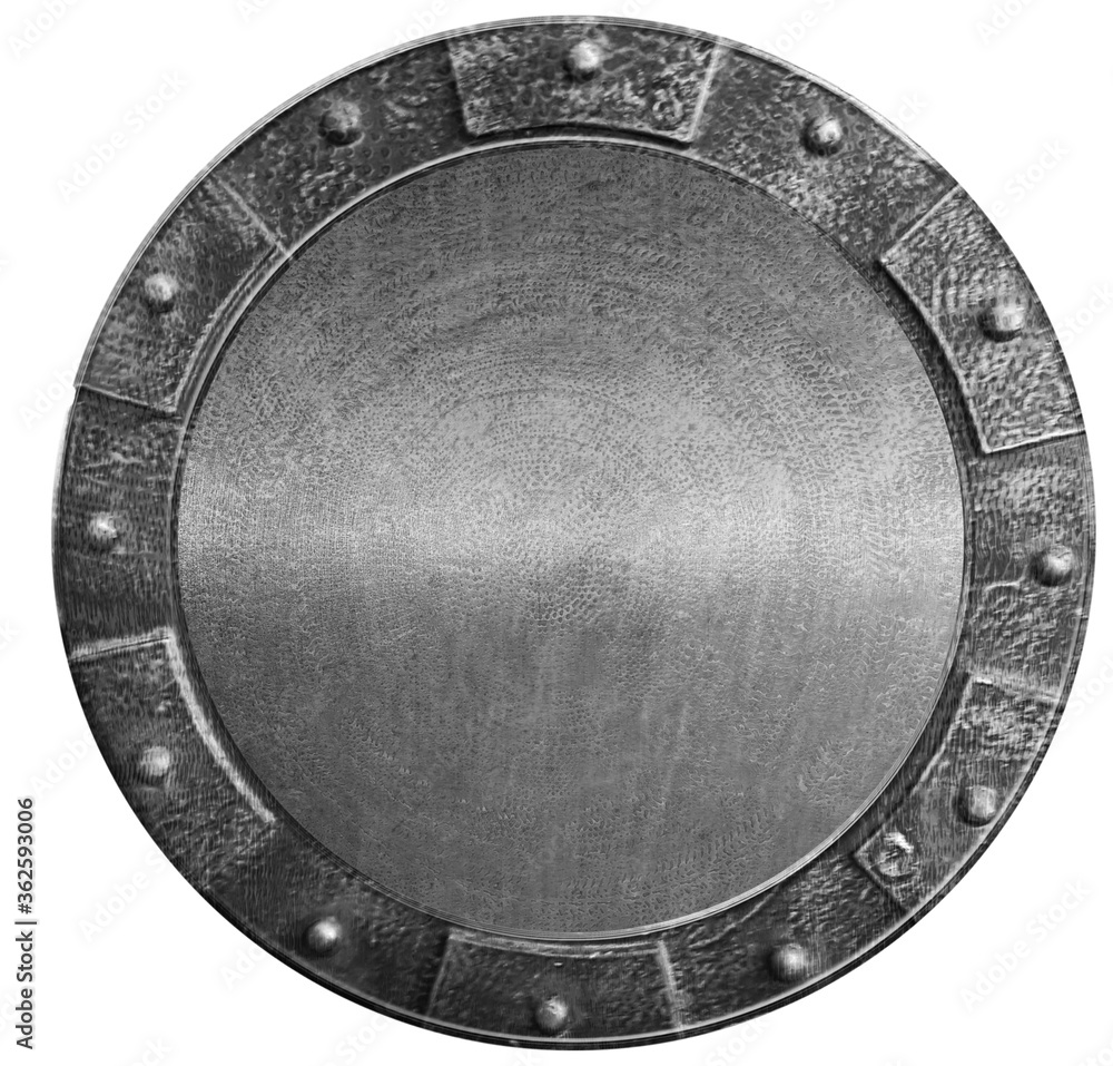 Fototapeta Round medieval shield isolated on white. 3d illustration