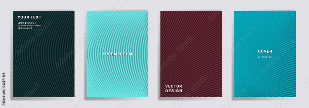 Fototapeta Semicircle lines halftone grid covers vector set.