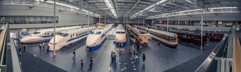 High Angle View Of Illuminated Trains