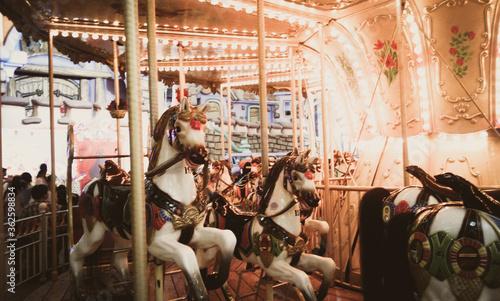 Canvastavla Carousel In Amusement Park