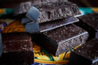 Leinwandbild Motiv Close Up Of Chocolate Blocks
