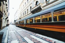 Fast Moving Tram In City