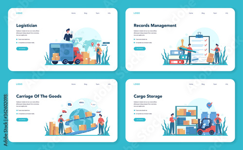 Logistic and delivery service web banner or landing page set Wallpaper Mural