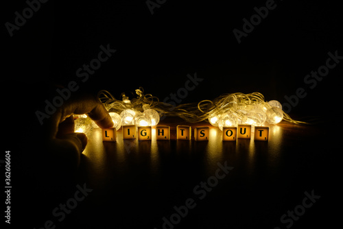 Fototapeta Close-up Of Illuminated Lighting Equipment In The Dark obraz na płótnie