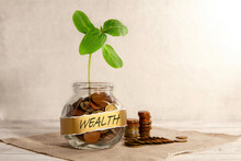 Wealth. Glass Jar With Coins A...