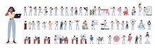 Set Of Business Woman Or Office Worker Character With Various Poses