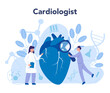 Cardiology concept. Cardiologist listen to heartbeat. Doctor deal