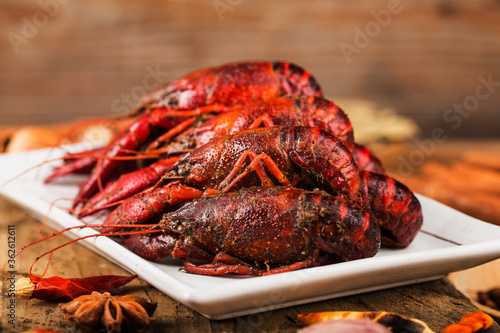 Fotomural Spicy crayfish crawfish food Chinese food crustaceans Red crayfish