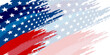 Background with USA painted flag. America US Flag Brush Presentation Background Banner.