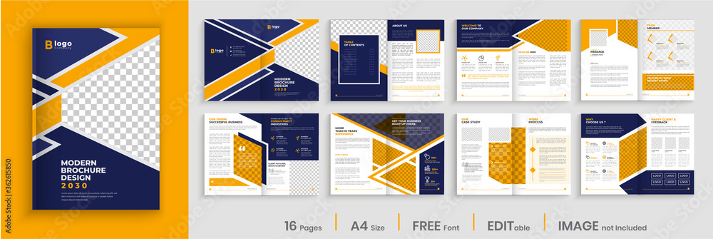Fototapeta Creative brochure template design, yellow color shape business brochure, company profile, multi-pages brochure design.