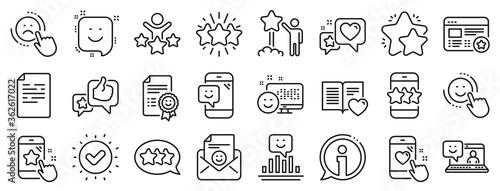 Obraz Set of User Opinion, Customer service and Star Rating icons. Feedback line icons. Testimonial, Positive negative emotion, Customer satisfaction. Social media feedback, star rating technology. Vector - fototapety do salonu