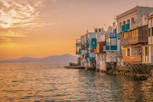 Houses By Sea Against Sky During Sunset, Mykonos Greece