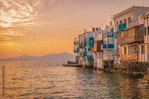 Fotografija Houses By Sea Against Sky During Sunset, Mykonos Greece