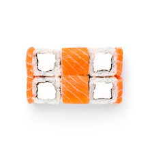 Sushi Maki-cream Salmon. Soft Cheese, Rice, Nori And Salmon. Top View, Isolated On A White Background. Item From The Sushi Bar Menu.