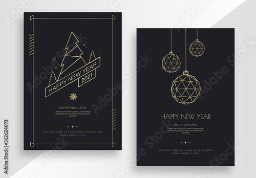 Fototapeta New Year Invitation Card Set with Gold Elements obraz