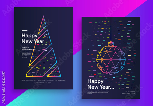 Fototapeta New Year Modern Poster Set with Geometric Elements.Zip obraz