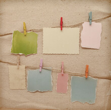 Colorful Memory Stick Attached To A Rope Line Scrapbook Background.