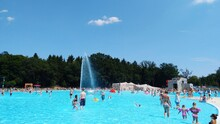 People At Swimming Pool Against Sky