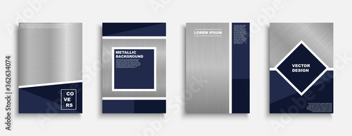 Fotografía Set of vector stylish metallic covers, templates, backgrounds, placards, brochures, banners, flyers and etc