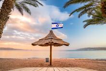 Sunrise On The Northern Beach In Eilat, Israel