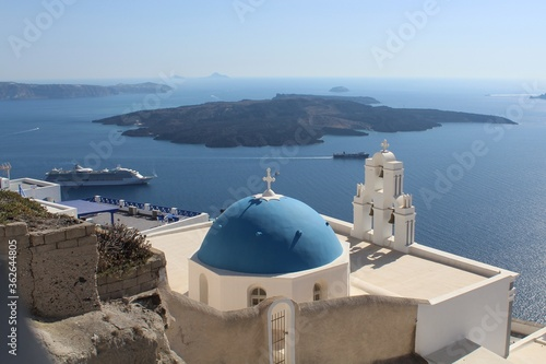 Fototapety, obrazy: Panoramic View Of Sea And Mountains Against Blue Sky In Santorini Greece