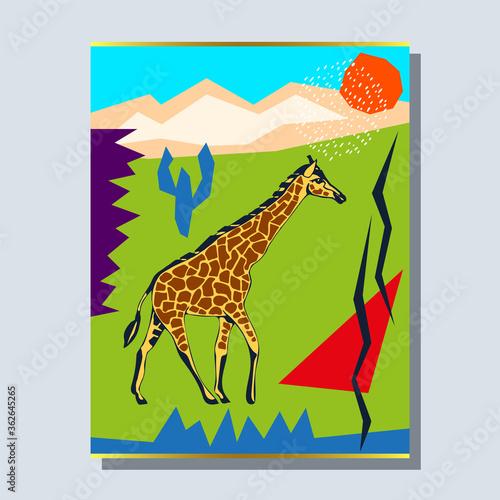 Obraz na plátně Vector background hand drawn giraffe