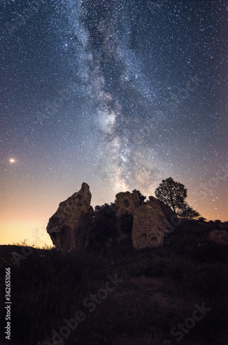 Low Angle View Of Rock Formation Against Sky At Night Canvas Print
