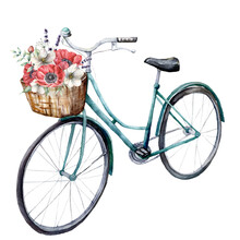 Watercolor Card With Blue Bicycle With Basket And Anemones. Hand Painted Summer Illustration With Red And White Flowers Isolated On White Background. For Design, Print, Fabric Or Background.