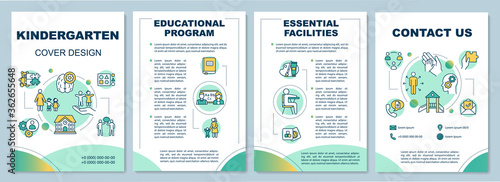Kindergarten brochure template. Early childhood development. Flyer, booklet, leaflet print, cover design with linear icons. Vector layouts for magazines, annual reports, advertising posters