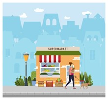 Grocery, Supermarket Shopping With Storefront On The Background. Vector Illustration. Young Woman Alking With A Bag Full Of Grocery Products