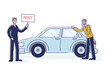 Car rent service with agent giving auto for lease to client. Vehicle rental company