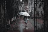 Woman Walking On Wet Umbrella During Monsoon