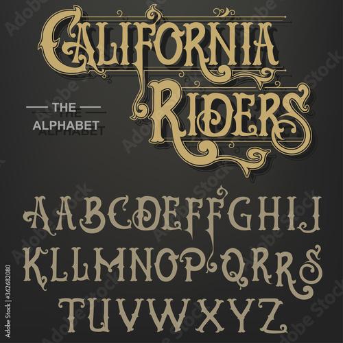 Gothic font, Original Typeface, handmade medieval script, Capital calligraphic letters Fototapete