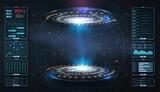 Fototapeta Perspektywa 3d - Art design hologram, portals, teleport template. Abstract concept modern technology portal, round tunnels. Magic circle teleport podium. GUI, UI virtual reality projector. Two luminous blue rings.