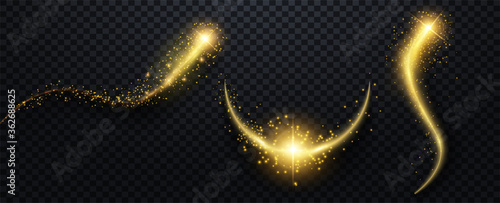 Obraz Sparkle stardust. Golden glittering magic vector waves with gold particles collection. Vector illustration - fototapety do salonu