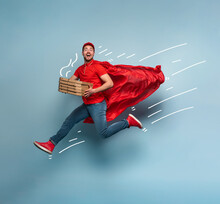 Deliveryman With Pizzas Acts L...