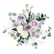Dusty violet lavender, mauve antique rose, purple pale and ivory yellow flowers