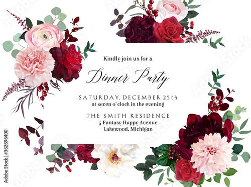 Obraz na płótnie Classic luxurious red roses, marsala carnation, white peony, berry, ranunculus