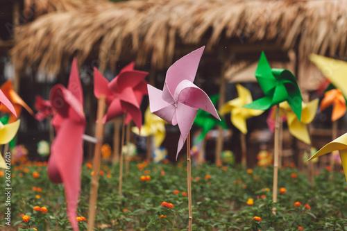 Fototapeta Close-up Of Pinwheel Toys On Field