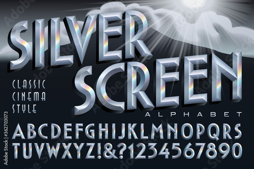 An Alphabet in a Retro Style of 1930s to 1960s Classic Cinema Titles Wallpaper Mural