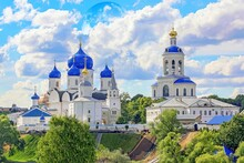 Vibrant Panoramic View Of Famous Orthodox Church In Vladimir Region With Full Moon
